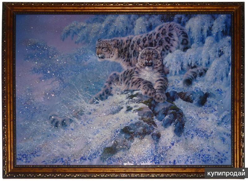 "Картина из натурального камня ""Снежные барсы"""