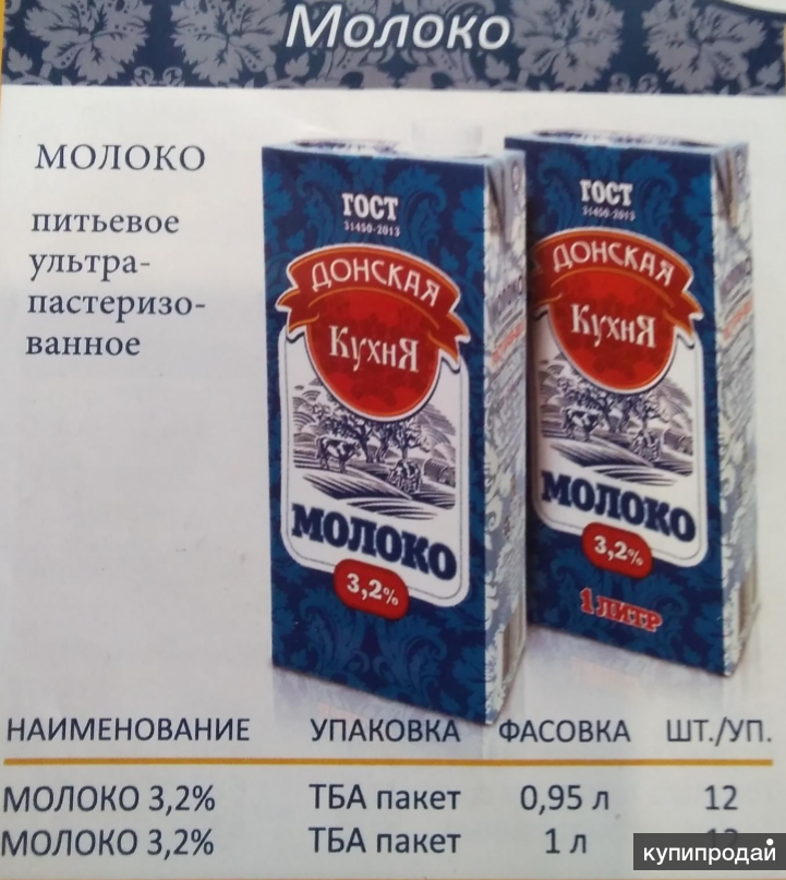 Молоко ультрапастерезованное 1литр ГОСТ