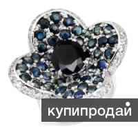 Серебряное кольцо с натуральными сапфирами (Италия)