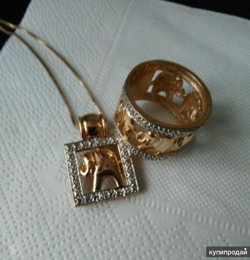 Кольцо и подвеска из серебра с позолотой и бриллиантами