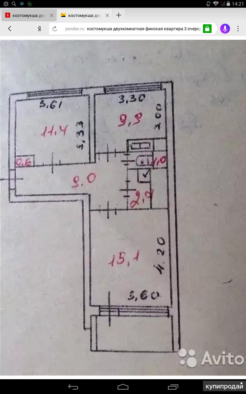 2-к квартира, 52 м2, 4/5 эт.