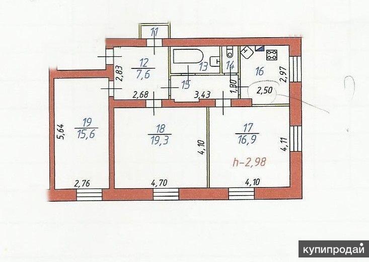 3-к квартира, 77 м2, 1/2 эт.